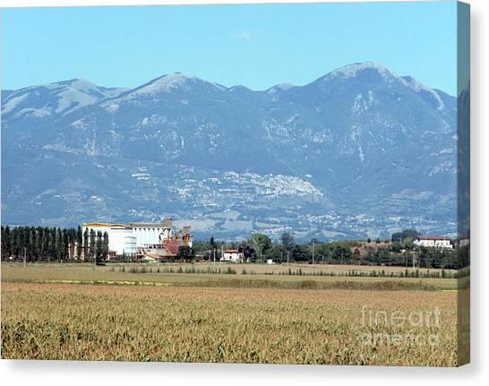 Rural Landscape With Silos Canvas Print