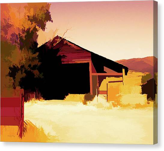 Rural Pop No 1 Hay Shed And Tree Canvas Print