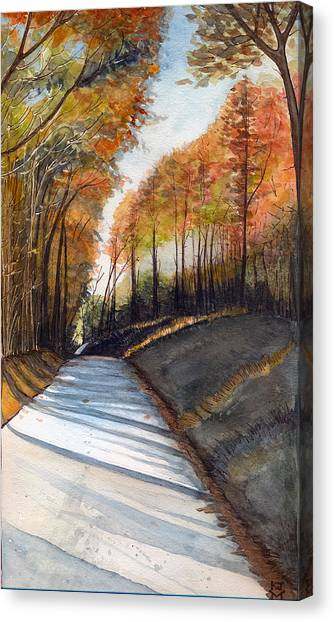 Rural Route In Autumn Canvas Print