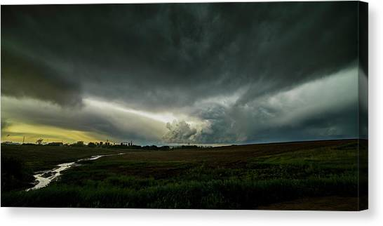 Rural Spring Storm Over Chester Nebraska Canvas Print