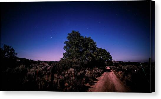 Canvas Print featuring the photograph Rural Starlit Road by T Brian Jones