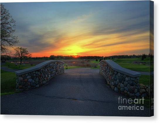 Rush Creek Golf Course The Bridge To Sunset Canvas Print