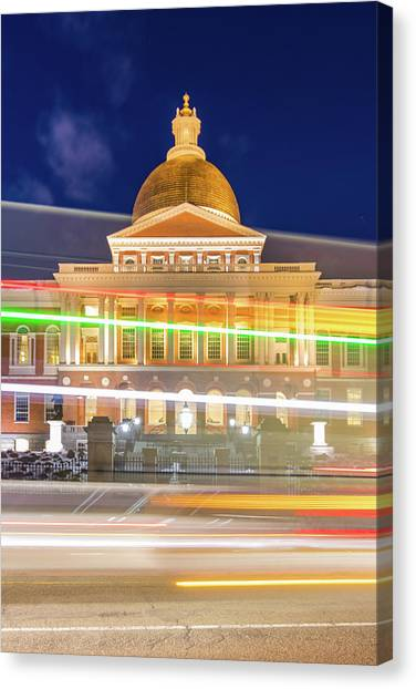 Rush Hour In Front Of The Massachusetts Statehouse Canvas Print