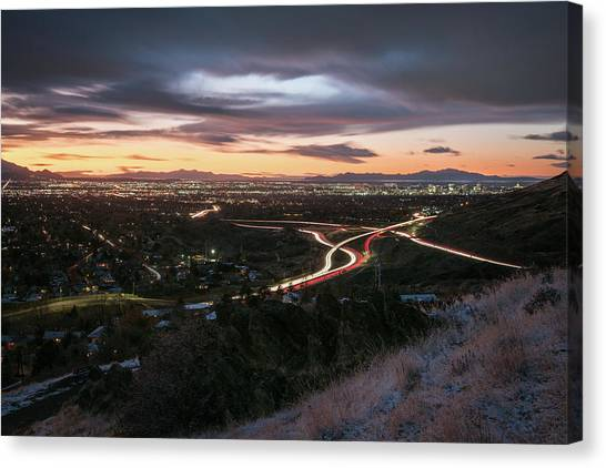 Rush Hour In Salt Lake City Canvas Print