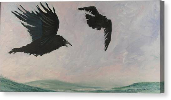 Rush Hour Ravens Canvas Print by Amy Reisland-Speer