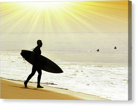 Surf Canvas Print - Rushing Surfer by Carlos Caetano
