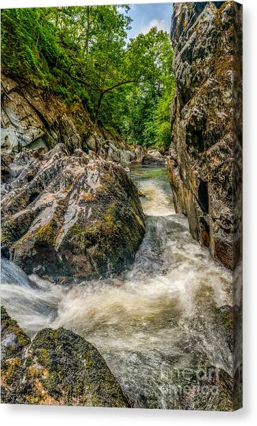 Fairy Glen Canvas Print - Rushing Waters  by Adrian Evans