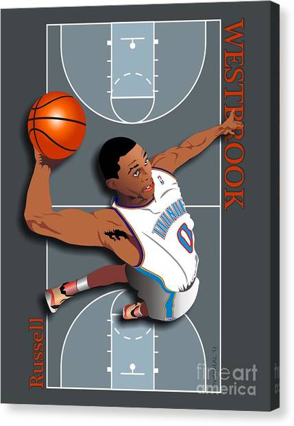 Russell Westbrook Canvas Print - Russell Westbrook, No. 0 by Walter Oliver Neal