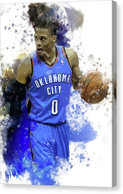 Russell Westbrook Canvas Print - Russell Westbrook, Oklahoma City Thunder  by Afrio Adistira
