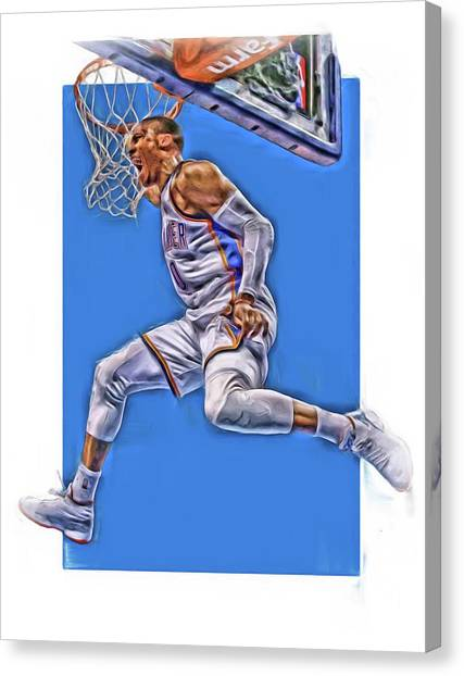 Oklahoma City Thunder Canvas Print - Russell Westbrook Oklahoma City Thunder Oil Art 2 by Joe Hamilton