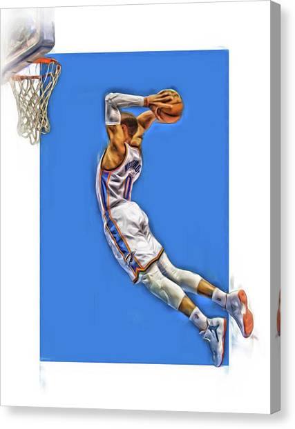 Russell Westbrook Canvas Print - Russell Westbrook Oklahoma City Thunder Oil Art 3 by Joe Hamilton