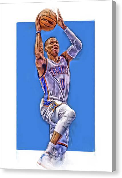 Russell Westbrook Canvas Print - Russell Westbrook Oklahoma City Thunder Oil Art by Joe Hamilton