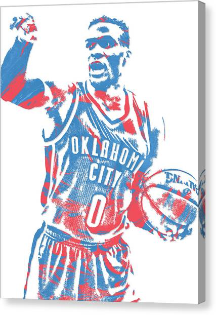 Russell Westbrook Canvas Print - Russell Westbrook Oklahoma City Thunder Pixel Art 15 by Joe Hamilton