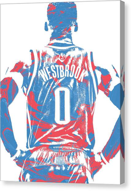 Russell Westbrook Canvas Print - Russell Westbrook Oklahoma City Thunder Pixel Art 16 by Joe Hamilton