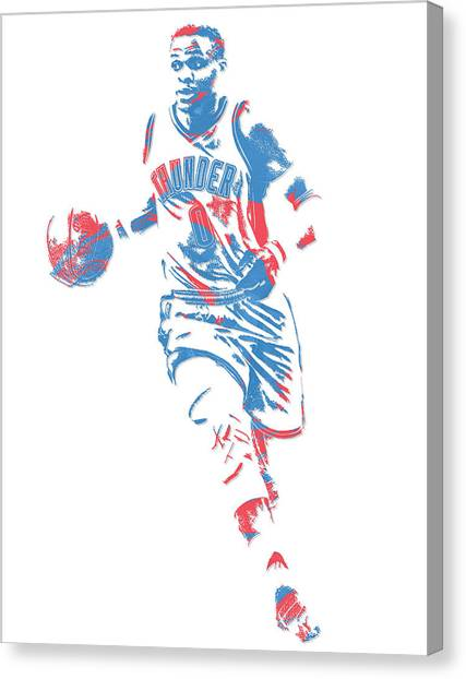 Russell Westbrook Canvas Print - Russell Westbrook Oklahoma City Thunder Pixel Art 17 by Joe Hamilton