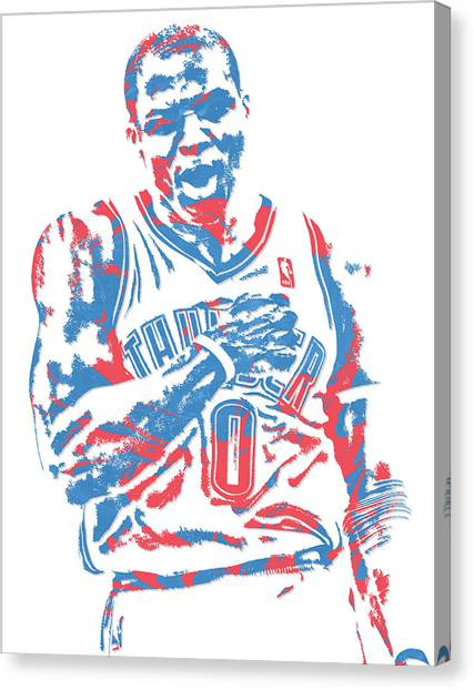 Russell Westbrook Canvas Print - Russell Westbrook Oklahoma City Thunder Pixel Art 18 by Joe Hamilton