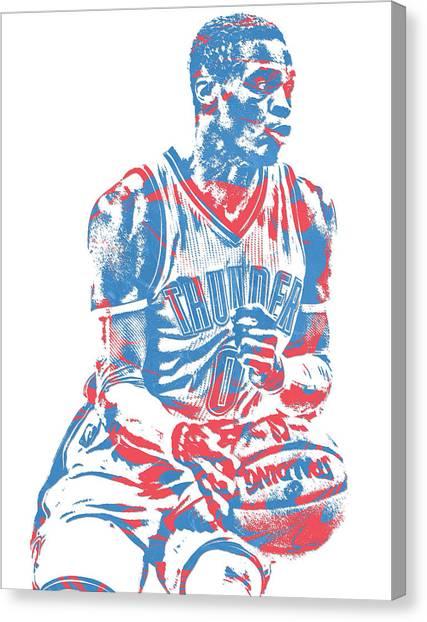 Oklahoma City Thunder Canvas Print - Russell Westbrook Oklahoma City Thunder Pixel Art 30 by Joe Hamilton