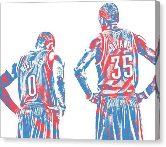 Oklahoma City Thunder Canvas Print - Russell Westbrook Oklahoma City Thunder Pixel Art 32 by Joe Hamilton