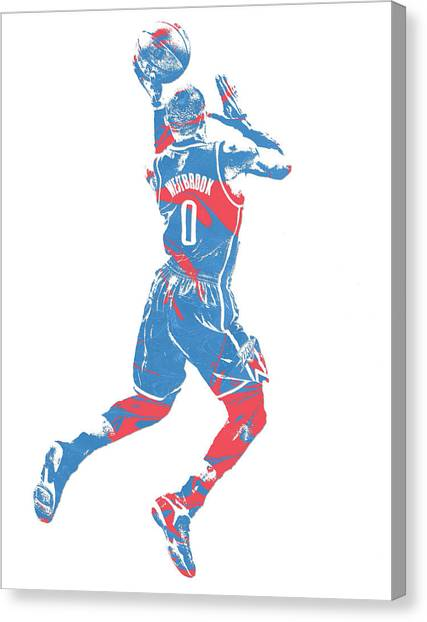 Russell Westbrook Canvas Print - Russell Westbrook Oklahoma City Thunder Pixel Art 33 by Joe Hamilton