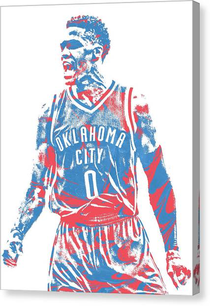 Russell Westbrook Canvas Print - Russell Westbrook Oklahoma City Thunder Pixel Art 34 by Joe Hamilton