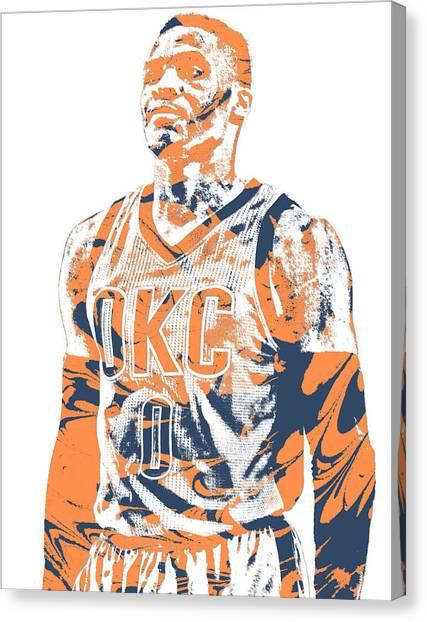 Russell Westbrook Canvas Print - Russell Westbrook Oklahoma City Thunder Pixel Art 35 by Joe Hamilton