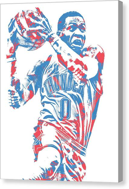 Russell Westbrook Canvas Print - Russell Westbrook Oklahoma City Thunder Pixel Art 36 by Joe Hamilton