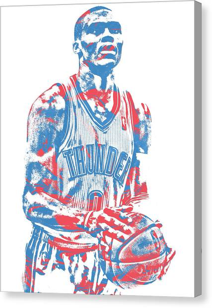 Russell Westbrook Canvas Print - Russell Westbrook Oklahoma City Thunder Pixel Art 37 by Joe Hamilton