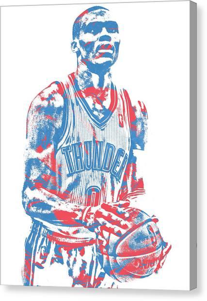 Oklahoma City Thunder Canvas Print - Russell Westbrook Oklahoma City Thunder Pixel Art 37 by Joe Hamilton