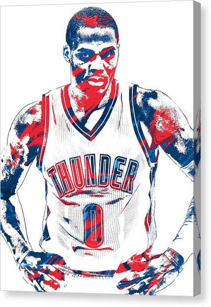 Oklahoma City Thunder Canvas Print - Russell Westbrook Oklahoma City Thunder Pixel Art 4 by Joe Hamilton