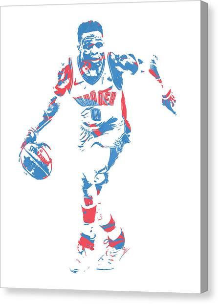 Oklahoma City Thunder Canvas Print - Russell Westbrook Oklahoma City Thunder Pixel Art 50 by Joe Hamilton