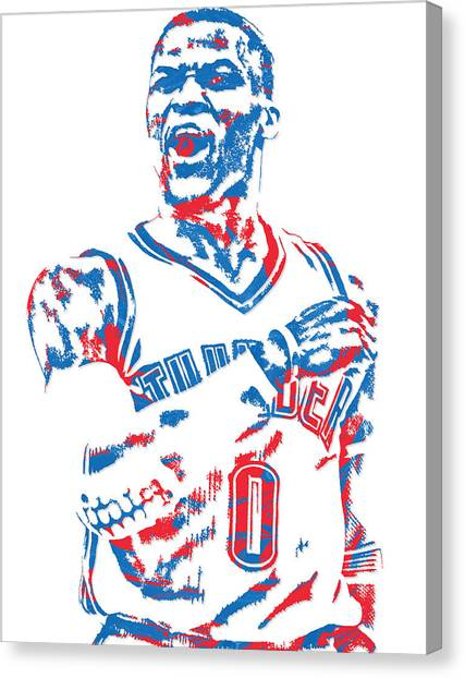 Oklahoma City Thunder Canvas Print - Russell Westbrook Oklahoma City Thunder Pixel Art 6 by Joe Hamilton