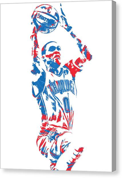 Russell Westbrook Canvas Print - Russell Westbrook Oklahoma City Thunder Pixel Art 7 by Joe Hamilton