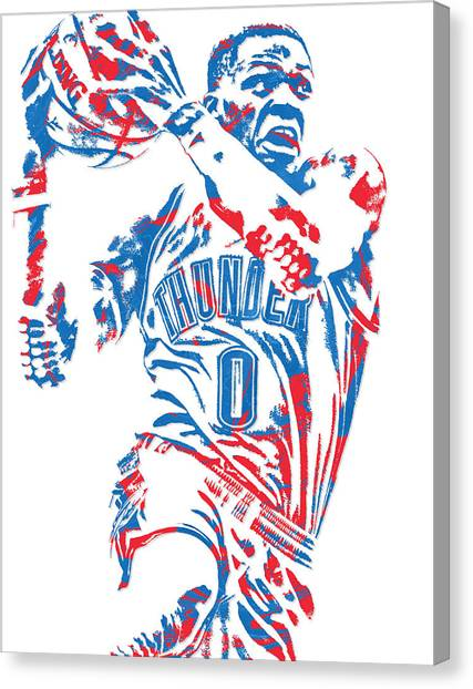 Oklahoma City Thunder Canvas Print - Russell Westbrook Oklahoma City Thunder Pixel Art 8 by Joe Hamilton