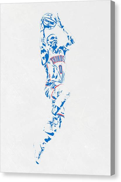 Oklahoma City Thunder Canvas Print - Russell Westbrook Oklahoma City Thunder Pixel Art by Joe Hamilton