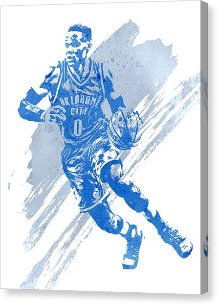 Russell Westbrook Canvas Print - Russell Westbrook Oklahoma City Thunder Water Color Art 1 by Joe Hamilton