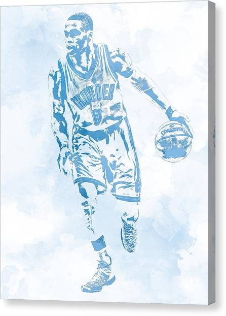 Russell Westbrook Canvas Print - Russell Westbrook Oklahoma City Thunder Water Color Pixel Art by Joe Hamilton