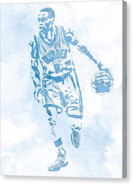 Oklahoma City Thunder Canvas Print - Russell Westbrook Oklahoma City Thunder Water Color Pixel Art by Joe Hamilton