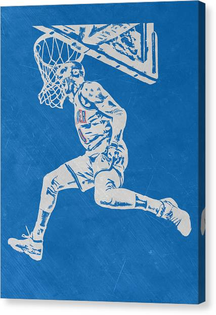 Oklahoma City Thunder Canvas Print - Russell Westbrook Scratched Metal Art 1 by Joe Hamilton
