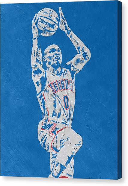 Oklahoma City Thunder Canvas Print - Russell Westbrook Scratched Metal Art 2 by Joe Hamilton