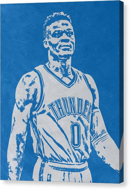 Russell Westbrook Canvas Print - Russell Westbrook Scratched Metal Art 3 by Joe Hamilton