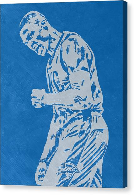 Russell Westbrook Canvas Print - Russell Westbrook Scratched Metal Art 4 by Joe Hamilton