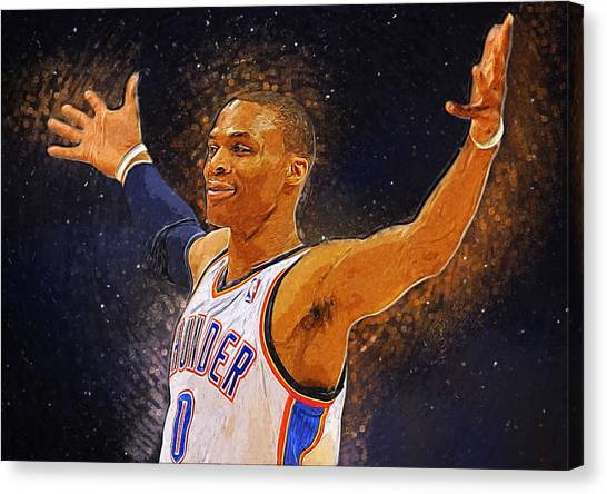 Dwight Howard Canvas Print - Russell Westbrook by Semih Yurdabak