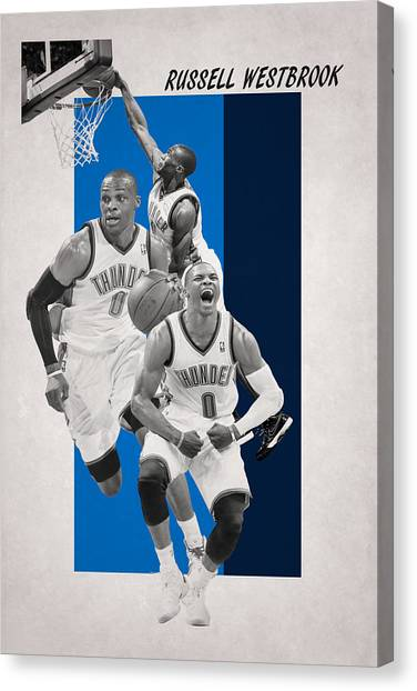Oklahoma City Thunder Canvas Print - Russell Westbrook Thunder by Joe Hamilton