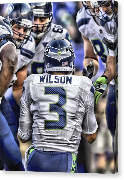Seattle Seahawks Canvas Print - Russell Wilson Art 1 by Joe Hamilton