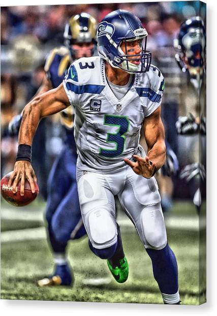 Seattle Seahawks Canvas Print - Russell Wilson Art 2 by Joe Hamilton