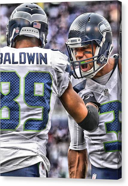 Seattle Seahawks Canvas Print - Russell Wilson Art 3 by Joe Hamilton