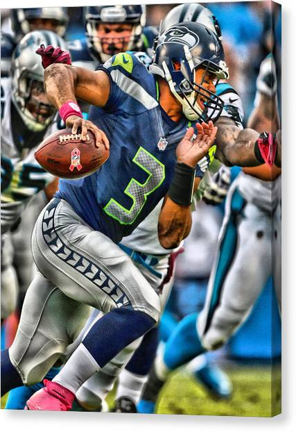 Seattle Seahawks Canvas Print - Russell Wilson Art 4 by Joe Hamilton