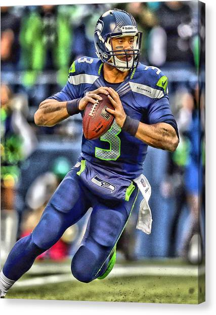 Seattle Seahawks Canvas Print - Russell Wilson Art 5 by Joe Hamilton