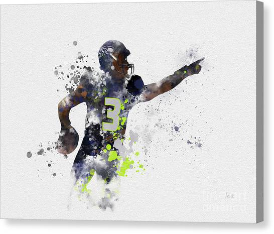 Superbowl Canvas Print - Russell Wilson by Rebecca Jenkins