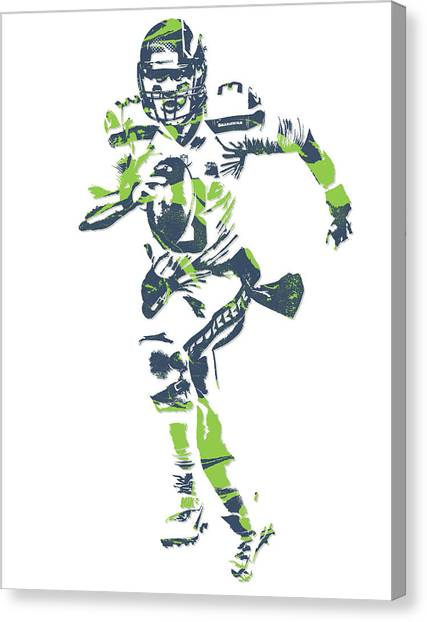 Seattle Seahawks Canvas Print - Russell Wilson Seattle Seahawks Pixel Art 14 by Joe Hamilton